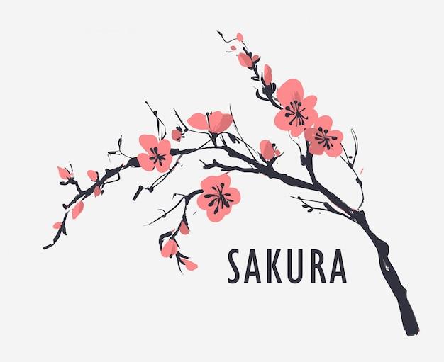 Motivo floreale senza soluzione di continuità con i fiori di sakura. illustrazione vettoriale
