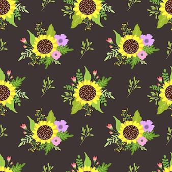 Motivo floreale senza soluzione di continuità con fiori primaverili.