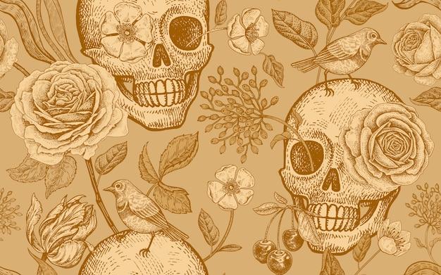 Motivo floreale senza soluzione di continuità con i simboli del giorno morto con teschi, fiori rose, tulipani e uccelli.