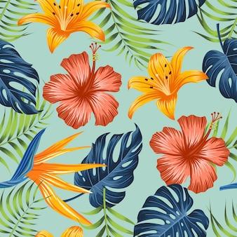 Motivo floreale senza soluzione di continuità con sfondo di foglie tropicali