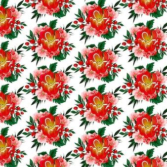 Motivo floreale senza soluzione di continuità con tulipani, bacche e foglie tropicali