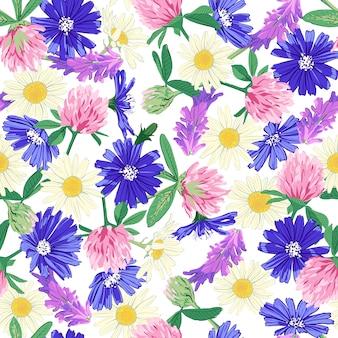 Motivo floreale senza soluzione di continuità con fiori di campo.