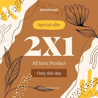 Banner promozionale di offerta speciale dello shopping floreale
