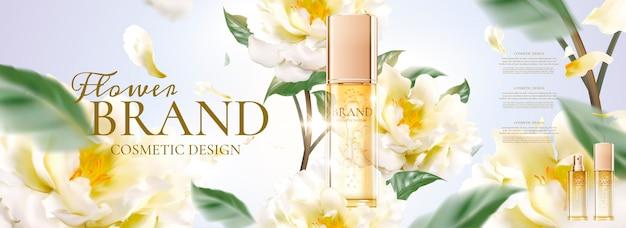 Banner pubblicitari floreali per la cura della pelle con petali che volano intorno al prodotto