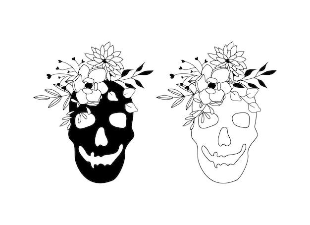 Cranio floreale svg
