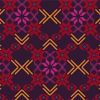 Collezione di pattern floreali songket