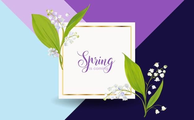 Modello di disegno floreale primaverile per carta, banner di vendita Vettore Premium