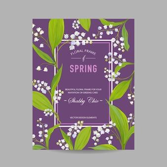 Modello di disegno floreale primaverile per invito a nozze, biglietto di auguri Vettore Premium