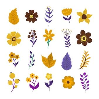 Set primavera floreale con foglie e fiori astratti doodle stile piatto