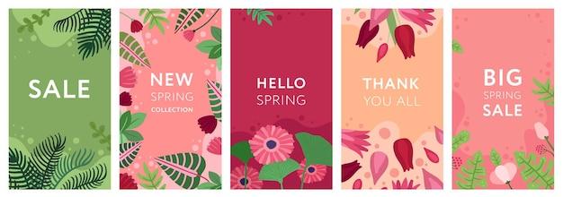 Storie floreali. fiori, piante primaverili e cornici di fogliame. modelli di storie sui social media di erbe da giardino estivo. set di poster decorativi di vettore. illustrazione fiore esotico primavera, raccolta carte luminose
