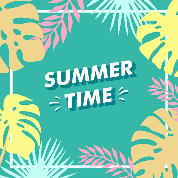 Festa estiva floreale con design piatto tropicale 2021