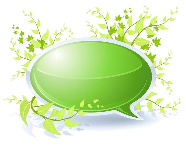 Tema floreale con bolla verde vuota