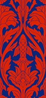 Motivo floreale vettoriale con pesce modello subacqueo blu e rosso sfondo cinese stilizzato