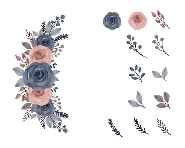 Composizione floreale ad acquerello di rose blu e pesca con ramo e foglie di boccioli di fiori