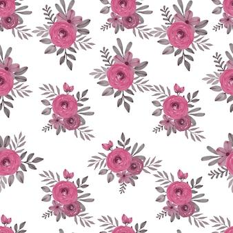Reticolo senza giunte di disposizione floreale dell'acquerello