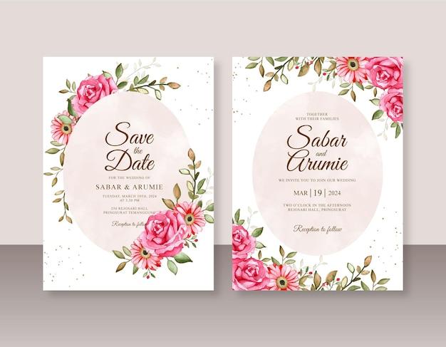 Dipinto ad acquerello floreale per un bellissimo modello di invito a nozze