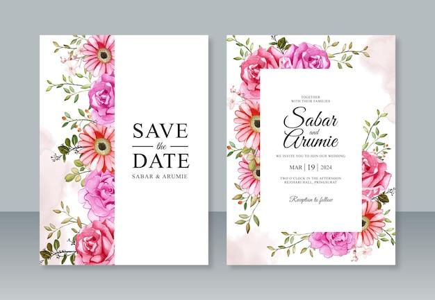 Dipinto ad acquerello floreale per modello di invito a nozze