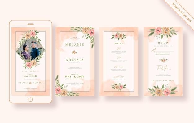 Modello di storie di instagram di matrimonio ad acquerello floreale