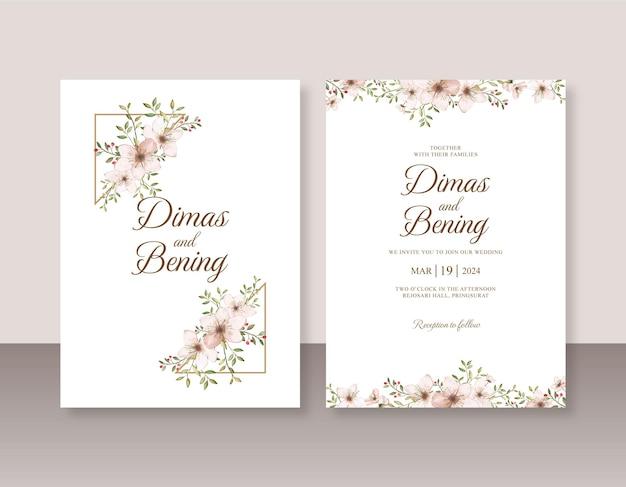 Acquerello floreale per modello di set di inviti di nozze