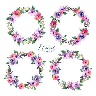 Corona floreale dell'acquerello foglie viola e rosa pink