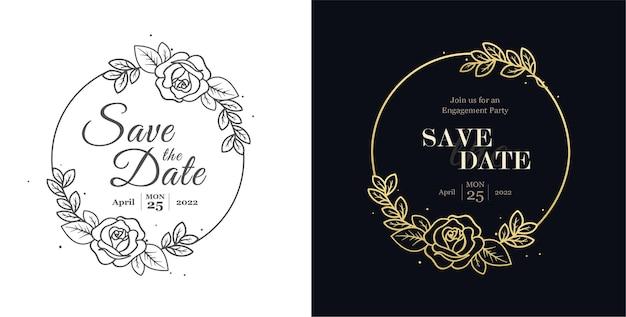 Distintivi di matrimonio floreale impostare design di biglietti d'invito