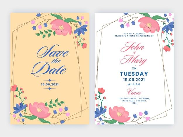 Design floreale per partecipazioni di nozze con doppio lato in colore giallo pesca e bianco.