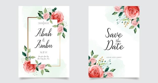 Acquerello di tiraggio della mano di inviti di carta di nozze floreale