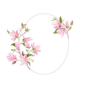 Cornice floreale di nozze, modello dell'acquerello del fiore di magnolia boho. scheda di vettore di auguri di invito. design botanico moderno pastello con fiori, foglie, fiori