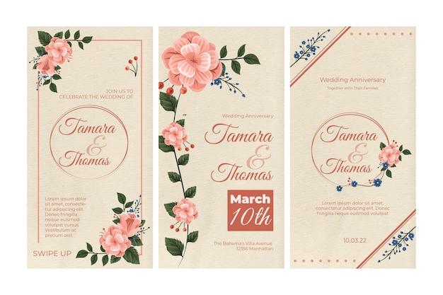 Collezione di storie di instagram di nozze floreali