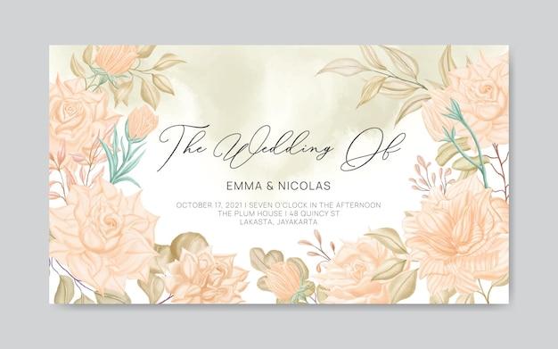 Modello di banner invito matrimonio floreale