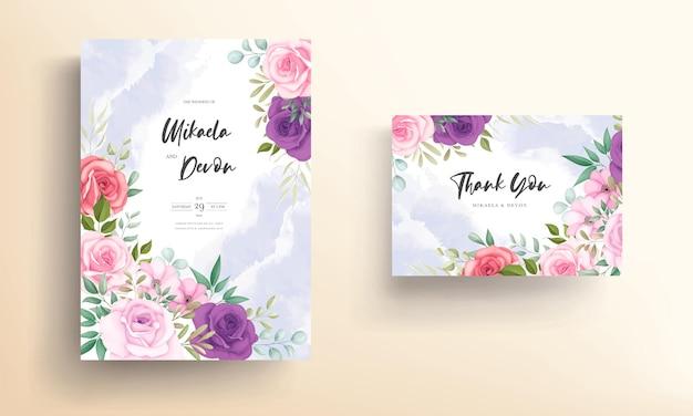 Disegno di carta di invito matrimonio floreale