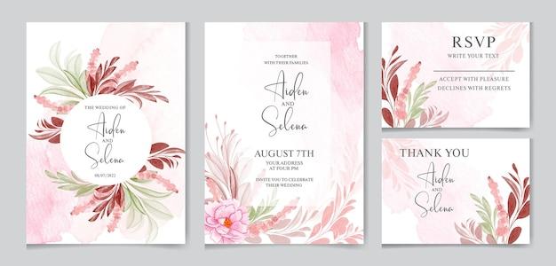 Modello di carta di invito matrimonio floreale con foglie bordeaux e marroni