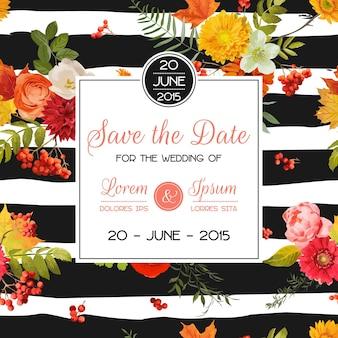 Modello di carta di invito matrimonio floreale con fiori autunnali, foglie e sorba. decorazione baby shower in