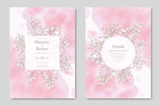 Modello di carta di invito matrimonio floreale con sfondo astratto dell'acquerello
