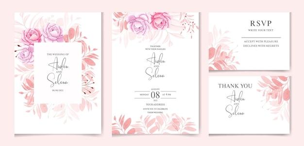 Invito a nozze floreale con foglie marroni e fiore rosa della pace di colore morbido