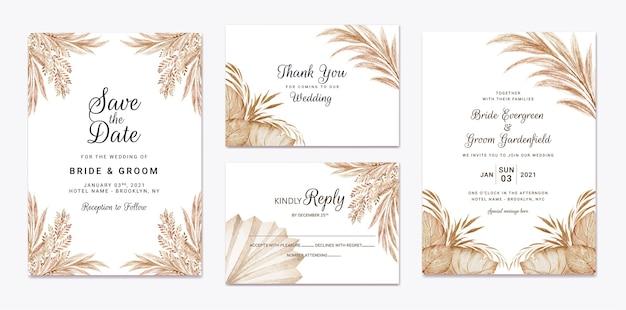 Insieme di modelli di invito matrimonio floreale. concetto di design della carta botanica