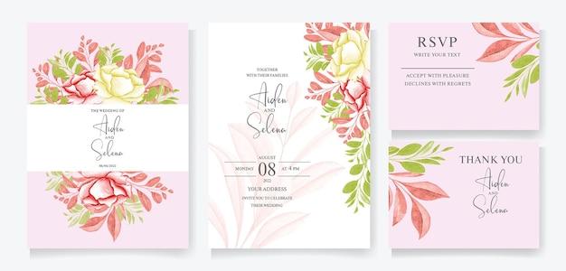 Modello di invito matrimonio floreale con fiori e foglie di rose marroni e pesca, cornice floreale dell'acquerello e decorazione botanica del bordo