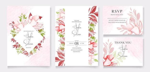 Modello di invito matrimonio floreale con fiori di rose marroni e pesca