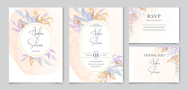 Modello di invito matrimonio floreale con decorazione di foglie colorate
