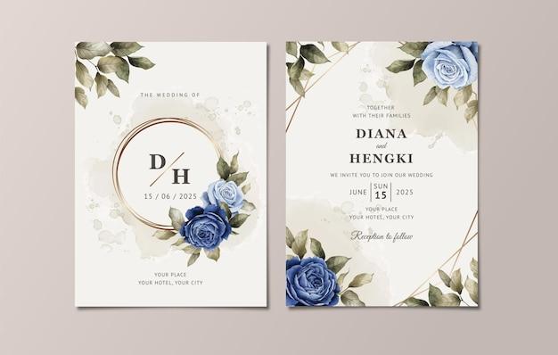 Modello di invito matrimonio floreale con eleganti rose blu navy e foglie