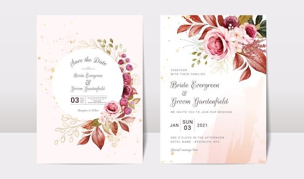 Modello di invito matrimonio floreale con decorazioni di fiori e foglie di rose bordeaux e marroni oro. concetto di design della carta botanica