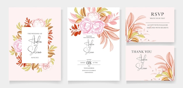 Modello di invito matrimonio floreale con rose color pesca e bellissime foglie cremose