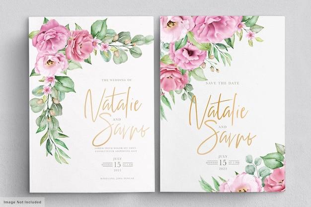 Modello di invito matrimonio floreale con fiori e foglie di rose rosa