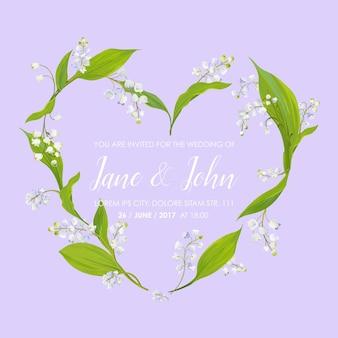 Modello floreale per invito a nozze con fiori primaverili di mughetto a forma di cuore