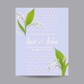 Modello floreale per invito a nozze con fiori di mughetto primaverile