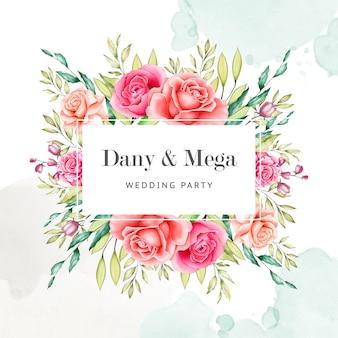 Modello di invito a nozze floreali