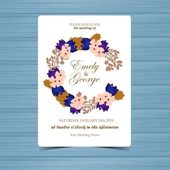 Invito a nozze floreale con foglie e fiori autunnali