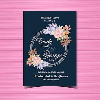 Invito a nozze floreale con bella cornice floreale