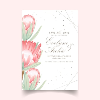 Invito a nozze floreale con fiore di protea