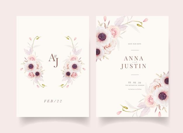 Invito a nozze floreale con rose rosa dell'acquerello e fiore di anemoni